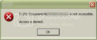 Folder dengan pesan kesalahan Access is denied