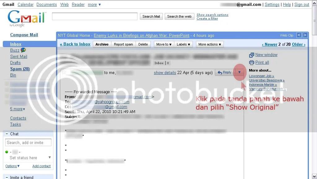 Contoh email yang diterima melalui Gmail