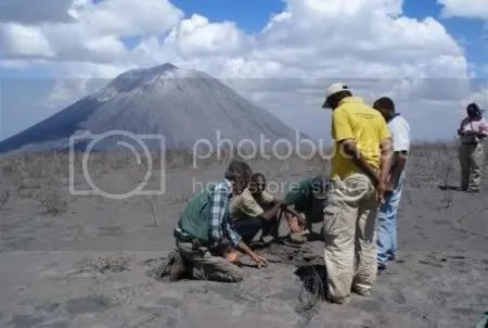 VDAP and Geological Survey of Tanzania scientists take ash samples at Ol Doinyo Lengai, 22 January 2009 (USGS image).