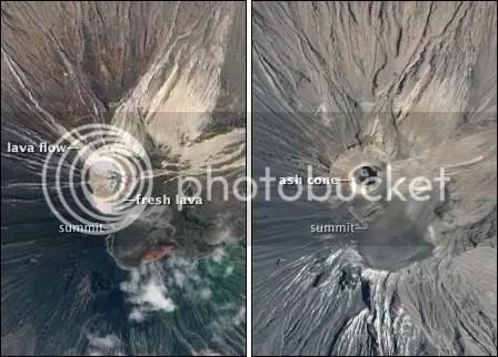 Ol Doinyo Lengai - left: 16 July 2004, right: 12 September 2009 (NASA imagery)