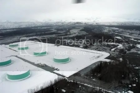 Drift River Oil Terminal, 23 March 2009 (AVO/USGS).