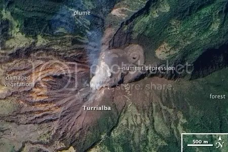 Unrest at Turrialba volcano, Costa Rica, 21 January 2010 (NASA EO-1 ALI image)