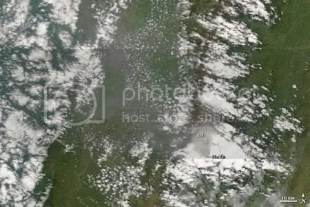 Ash emissions at Nevado del Huila, 28 October 2009 (NASA MODIS image)
