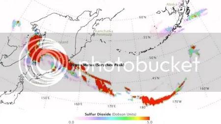 Sarychev Peak sulphur dioxide plume, 10-17 June 2009 (NASA OMI/Aura image)