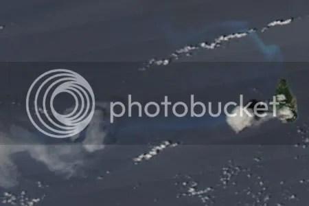 Activity at Soufriere Hills volcano, 6 October 2009 (NASA MODIS image)