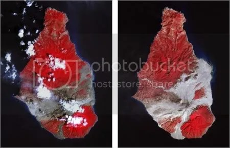 Soufriere Hills, Montserrat. Left: 17 March 2007. Right: 21 February 2010. (NASA images)
