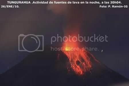 Tungurahua: lava fountain activity at night, 26 January 2010, 20:04 (P. Ramon, Instituto Geofisico)