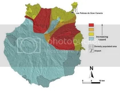 Mapa de riesgos volcánicos en Gran Canaria 2010
