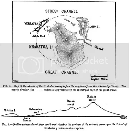 Fgures 2 and 3 from The Eruption of Krakatoa and Subsequent Phenomena (London, 1888)