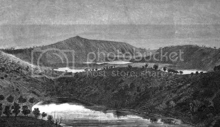 Middle and Valley Lake Craters of Mount Gambier - illustration from 1862