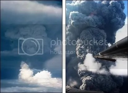 Left: Pagan volcano erupting, 18 May 1981. Right: Anatahan erupting, 16 June 2003. (Both images courtesy USGS.)