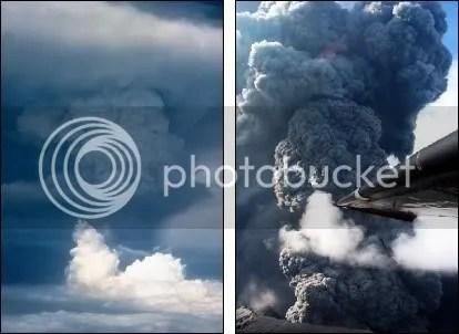 Left: Pagan volcano erupting, 18 May 1981. Right: Anatahan erupting, 16 June 2003. (Both images courtesy USGS.)