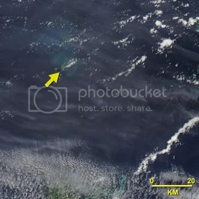 Tonga submarine eruption, 20 March 2009 0130GMT (NASA Aqua image)