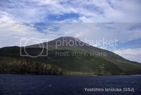 Matua Island and Sarychev Peak from the south-east, August 2008 (copyrighted photo by Yoshihiro Ishizuka, Geol Surv Japan, AIST)