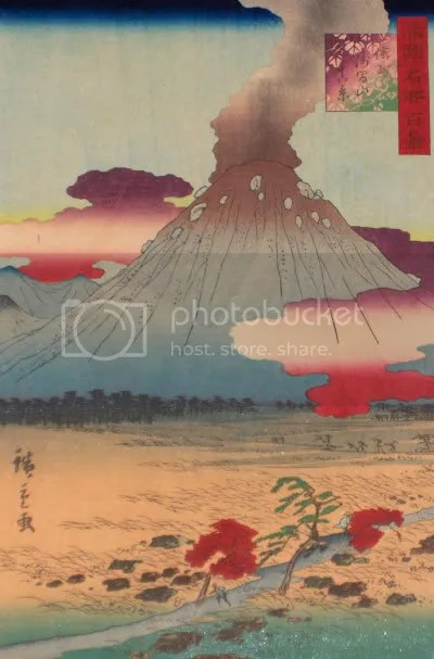 Hiroshige II, 'Mount Asama' (1859)