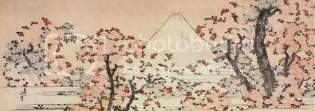 Katsushika Hokusai, 'Mount Fuji seen through cherry blossom' (c.1834)