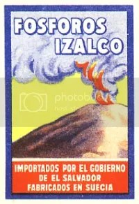 Volcano matchbox label: 'Izalco'