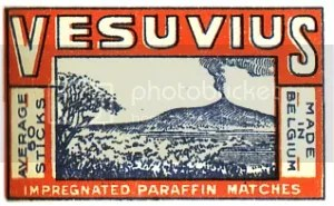 Volcano matchbox label: 'Vesuvius'