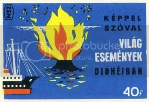 Volcano matchbox label: 'Keppel Szoval'