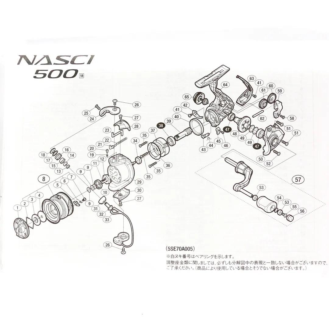 Shimano Reel Spinning Nasci 500 Fb Nas 500fb