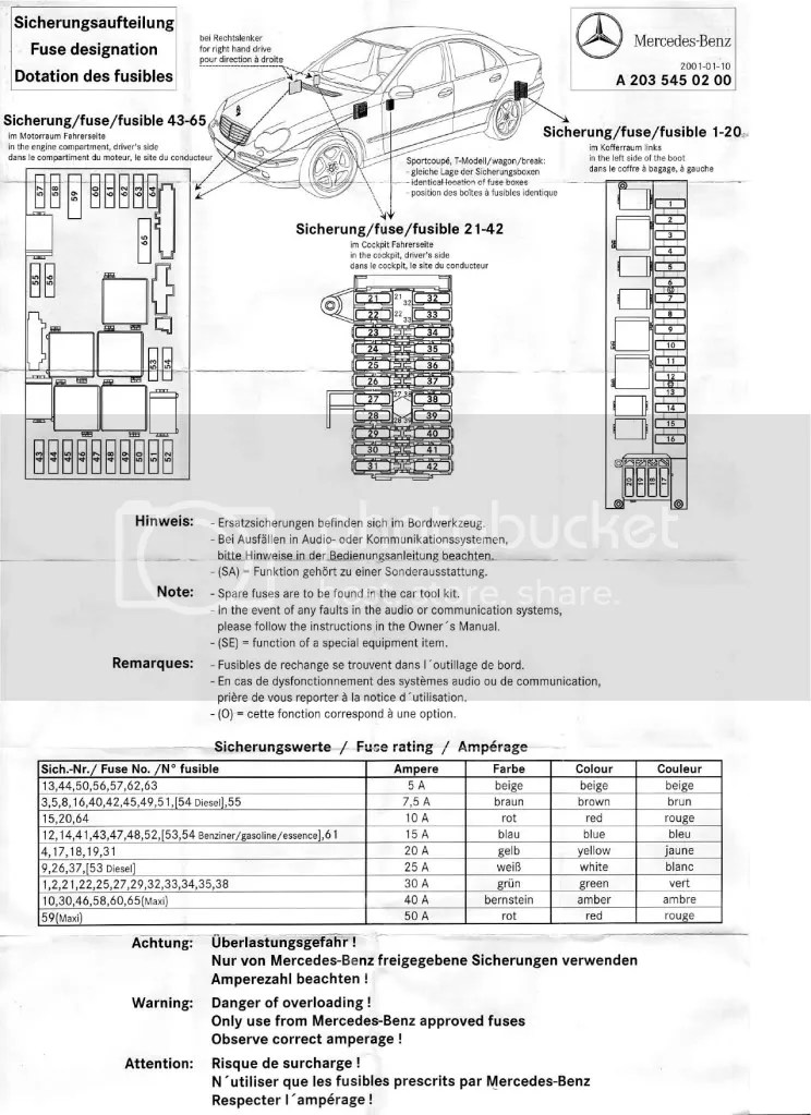 Mercedes Benz 2006 C230 Fuse Box Diagram