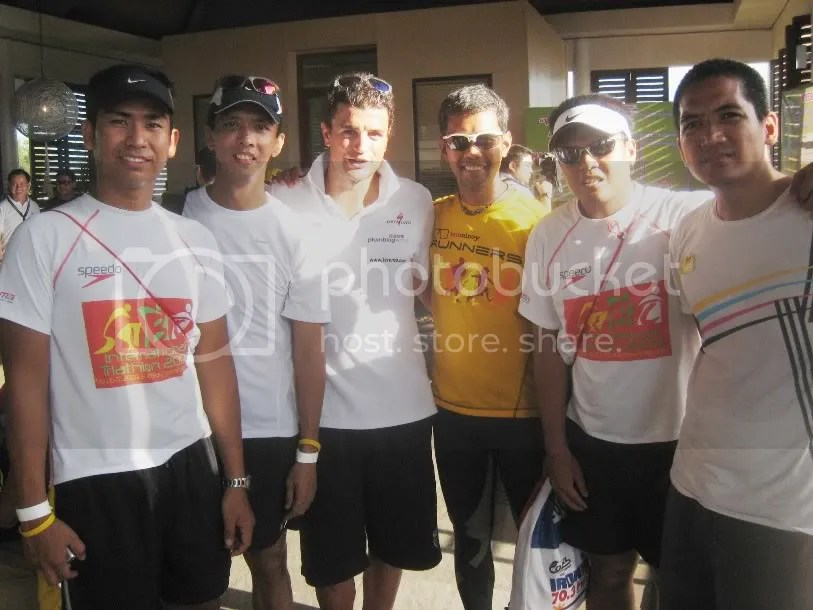 Jason, me, Pastor Ernie, Rein, Dale with Ironman Philippines 70.3  Chamion Terenzo Bozzone