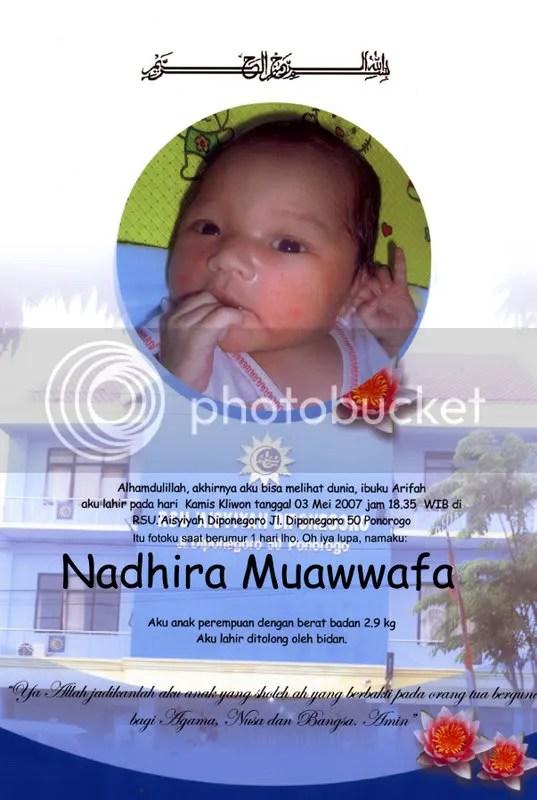 Nadhira muawwafa saat berumur 1 hari