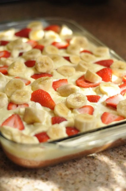 Strawberry Banana Poke Cake || Easy Summer Spring Recipes || Desserts || Cooking || Pudding