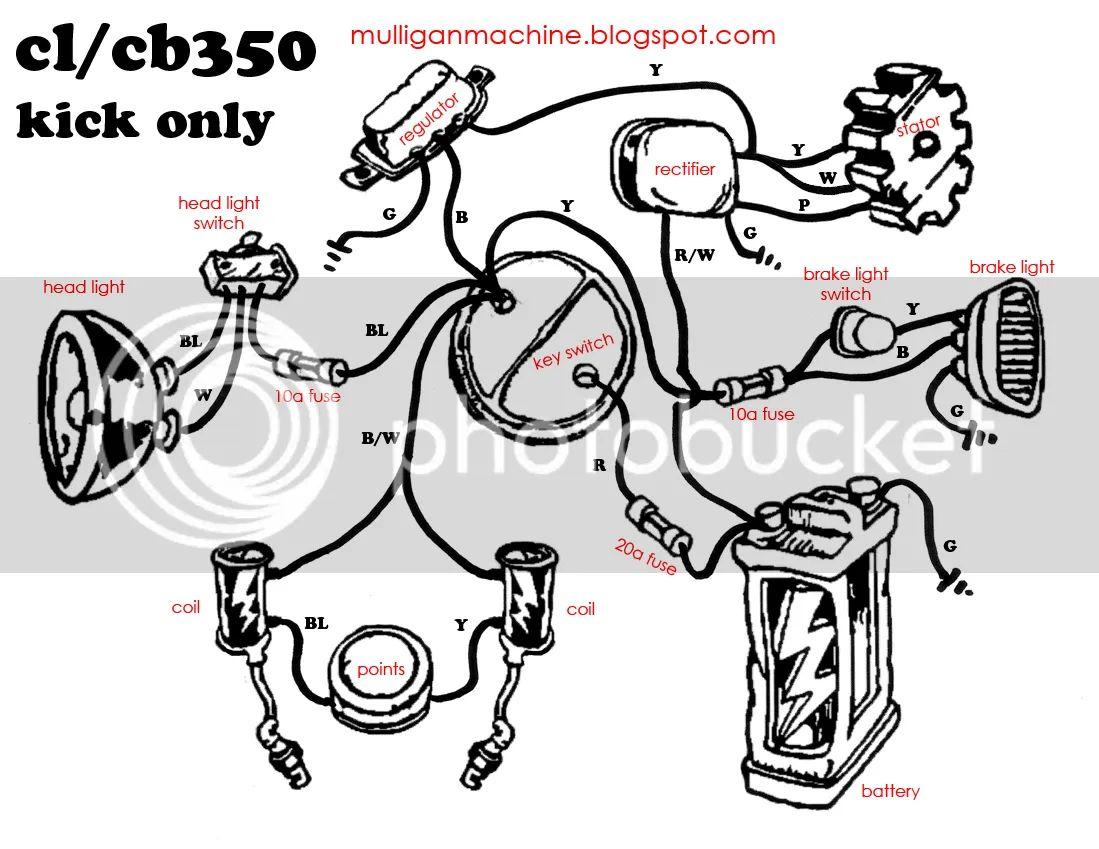 1968 1969 honda cb cl350 electrical wiring diagram