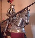 knight in shinning armor on horse