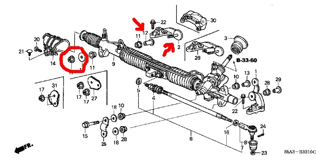 How to remove 2001 honda civic steering rack