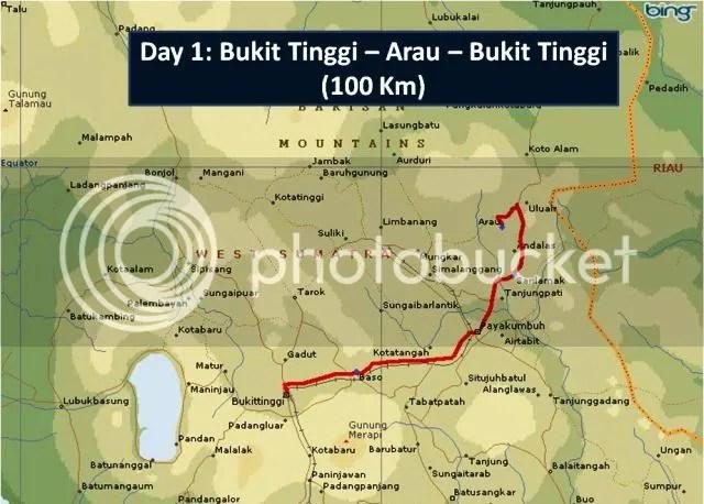 Day 01 Route Map Bukit Tinggi - Harau