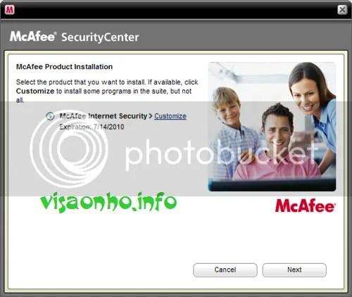 Sử dụng McAfee Internet Security 2010 miễn phí 180 ngày