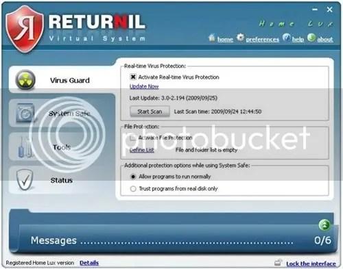 Returnil Virtual System 2010 Home Lux miễn phí 1 năm
