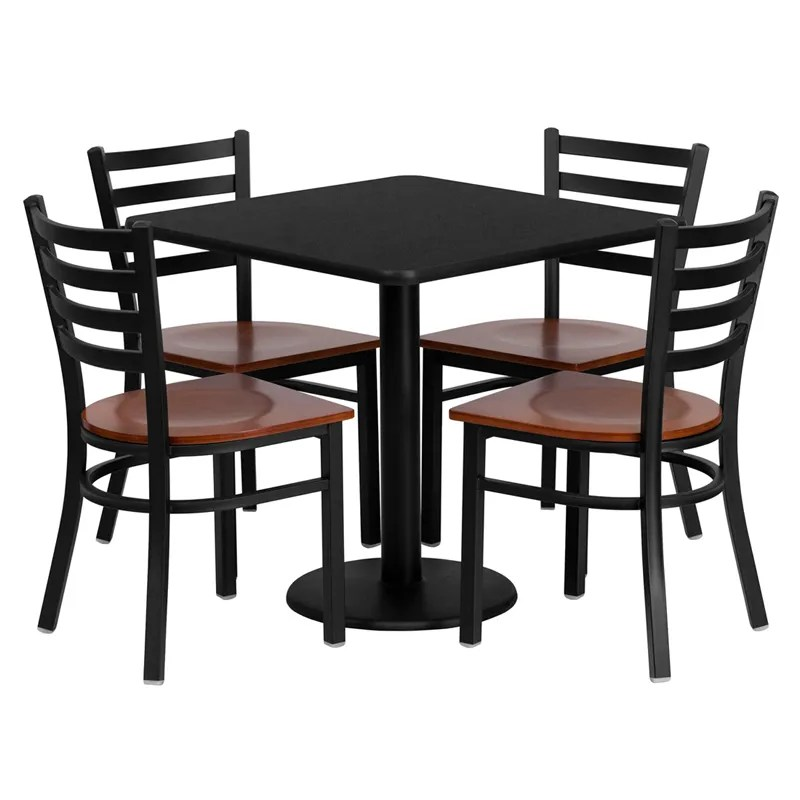 table with chairs extra wide restaurant 30 black laminate 4 ladder back metal details about