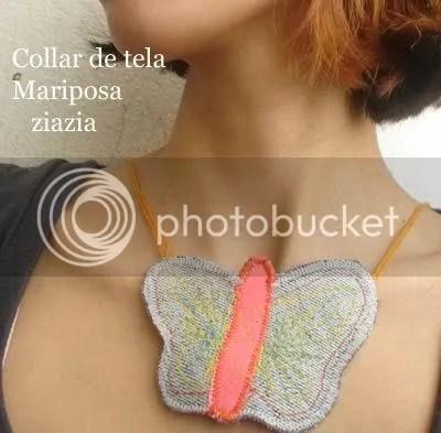 collar de tela ziazia mariposas