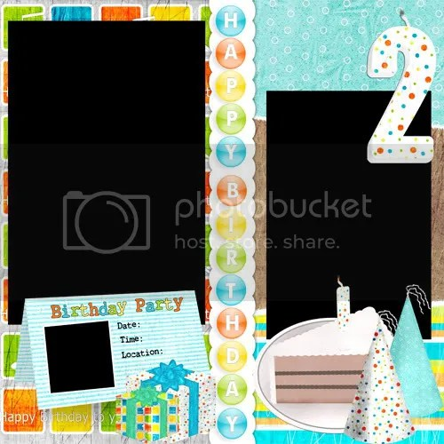 happy birthday digital scrapbooking template