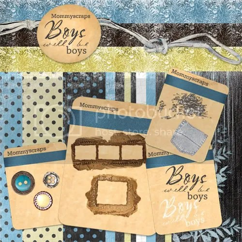 boys digital scrapbook freebie