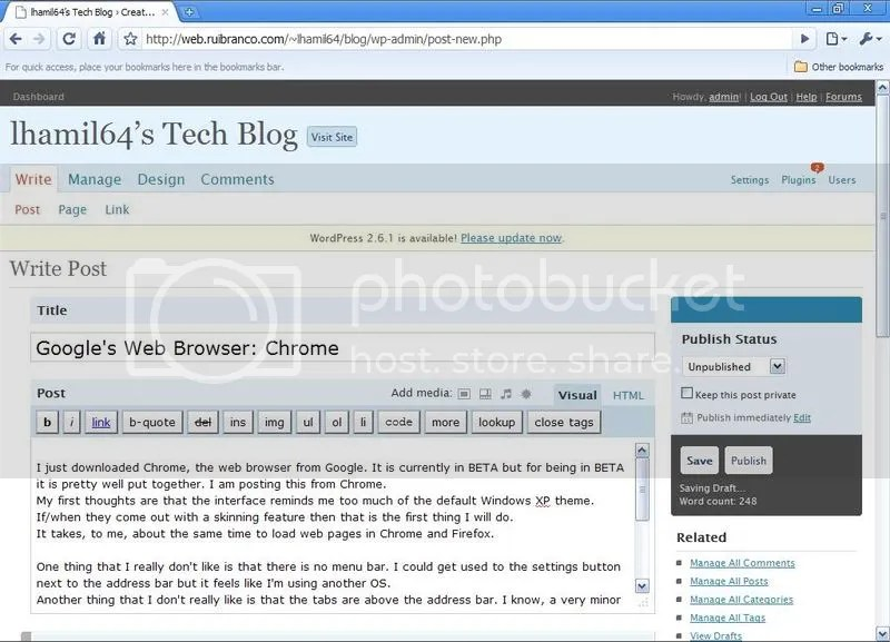 Screenshot of Google's Chrome web browser