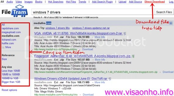 File Tram: Tìm kiếm file trên MediaFire, Megaupload, RapidShare,...
