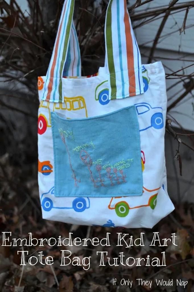 DIY embroidered kid art tote bag tutorial
