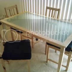Ikea Wooden Dining Table 4 Chairs Baby Trend High Chair Giraffe Natural Wood With Frosted Glass