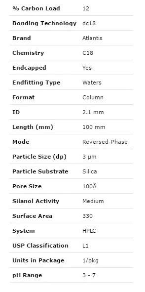 Waters Atlantis dc18 Column, 3 um, 2.1 mm X 100 mm HPLC