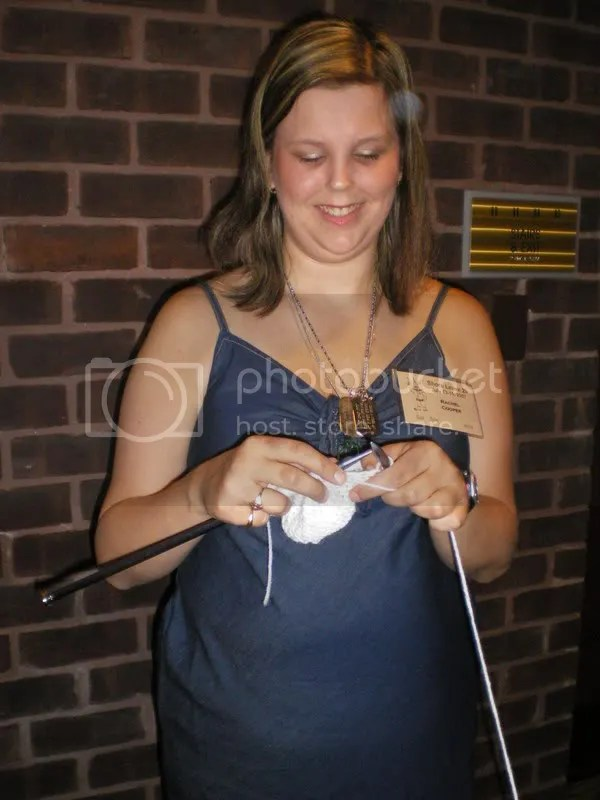 Me knitting while standing in line for a photo op