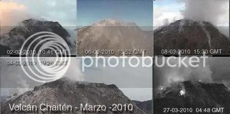 Secuencia de imagenes del volcan Chaiten correspondientes al mes de Marzo del 2010 (SERNAGEOMIN)