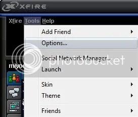Xfire Options Panel