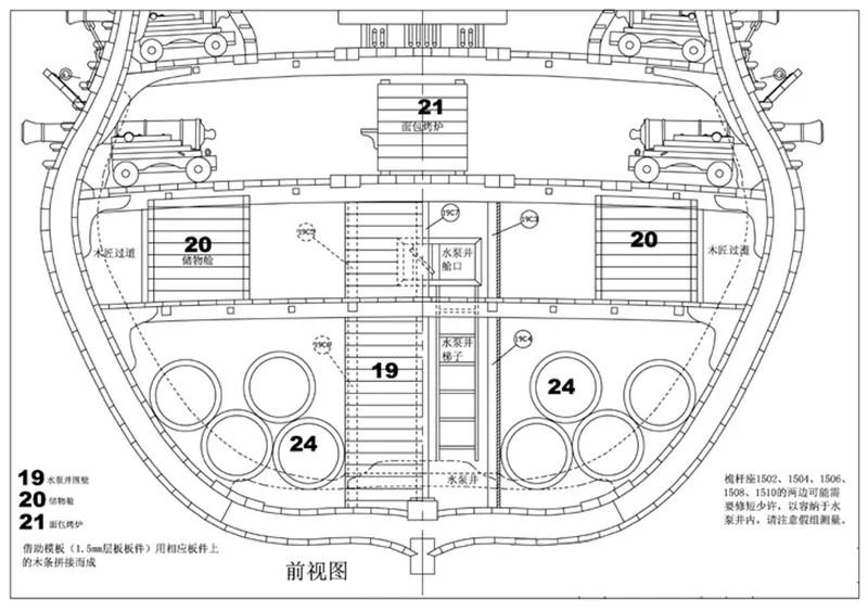USS Bonhomme Richard Full rib Cross Section Pear Scale 1