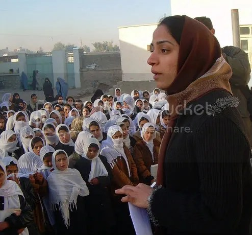 Malalai Joya visits Afghan girls school