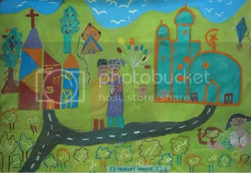 A road connecting a Mosque and a Church, ages 9-12 years. Funkor Child Art Center contest, Islamabad 2005