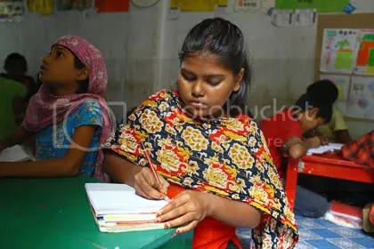Girl student in Child Learning Centre in Sheorapara, Dhaka City